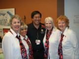 Left to Right: Mayra Bee, Lisa Hohman, Dr. Ikeda (Valentine recipient), Faith Lawrence, Karen Hasman